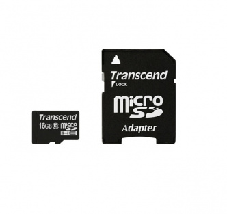 micro SD карта памяти Transcend 16GB Class10 adapter  (TS16GUSDHC10)